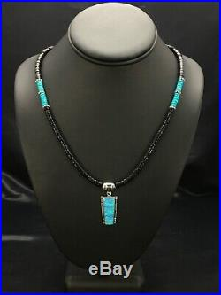 Native American Turquoise Heishi Onyx Sterling Necklace Opal Pendant 22 2965