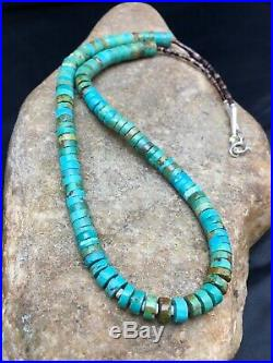 Native American Turquoise Heishi Sterling Silver Bead Necklace 8958