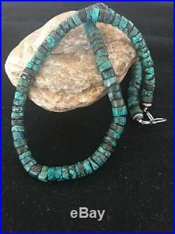Native American Turquoise Heishi Sterling Silver Bead Necklace Gift 8505 10 mm
