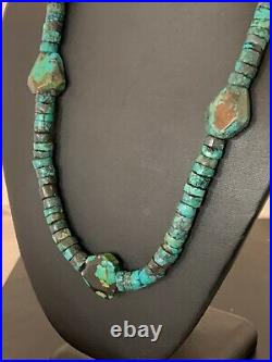 Native American Turquoise Nugget Heishi Sterling Silver Bead Necklace 4656