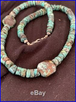 Native American Turquoise Nugget Heishi Sterling Silver Bead Necklace 4657