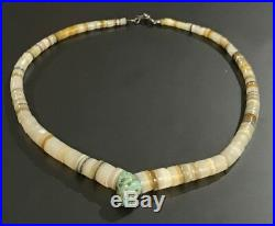 Native Santo Domingo Pueblo Sterling Clasp Shell Turquoise Heishi 16 Necklace