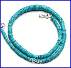 Natural Gem Sleeping Beauty Turquoise 4 to 9MM Faceted Heishi Beads Necklace 16