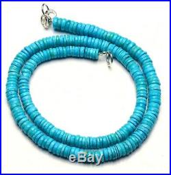 Natural Gem Sleeping Beauty Turquoise 6MM Size Faceted Heishi Beads Necklace 17