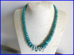 Natural Nevada Turquoise Heishi Bead & Sterling Native American Navajo Necklace