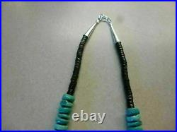 Natural Turquoise Heishi Bead & Sterling Silver Native American Navajo Necklace