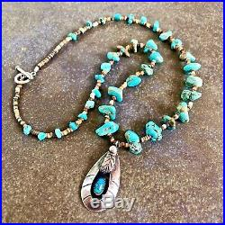 Navajo'A White' Turquoise Pendant, nugget & pen shell heishi necklace 20