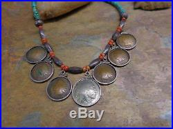 Navajo Coin Heishi Turquoise Coral Sterling Bench Bead Squash Blossom Necklace