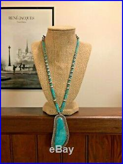 Navajo DRY Sterling Silver Turquoise Heishi LARGE Pendant Necklace 925 Southwest
