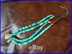 Navajo Double Jacla Sterling Vintage Turquoise Heishi Beads 17 Necklace