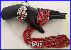 Navajo Four Strand Mediterranean Red Coral Turquoise S/S Cones Heishi Necklace