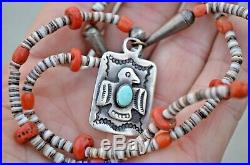 Navajo Fred Harvey Style Silver Turquoise Thunderbird Fob Necklace Heishi Coral