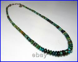 Navajo Graduated Green Turquoise Heishi Choker Necklace Sterling Clasp N. Garcia