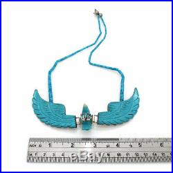 Navajo Handmade Sterling Silver Carved Turquoise Eagle Heishi Bead Necklace
