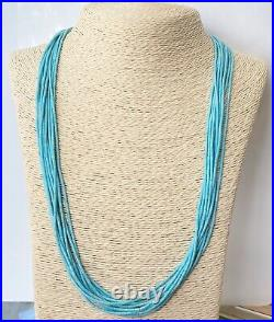 Navajo Heishi 10 Strands Sterling Silver Turquoise Tube Necklace 25.5