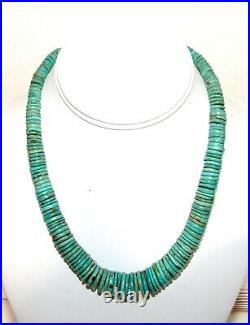 Navajo Kingman Rolled Turquoise Disc Heishi Necklace Sterling Clasp