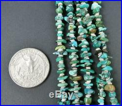 Navajo ML Perry Turquoise Heishi 5 Strand Necklace Sterling Silver Earrings Set