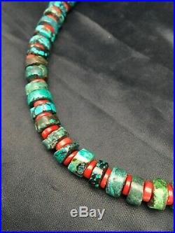 Navajo Mens Native American Sterling Silver Heishi Turquoise Coral Necklace 2779