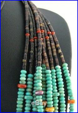 Navajo Multi-Strand Turquoise Heishi Treasure Necklace by Everett, Mary Teller