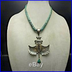 Navajo NELSON MORGAN Sterling Silver EAGLE KACHINA Turquoise Heishi NECKLACE
