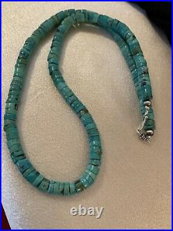Navajo Native American Gr Turquoise 7mm Heishi Sterling Silver Bead Necklace 542