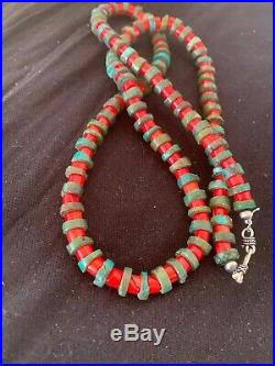 Navajo Native American Sterling Silver Heishi Turquoise Coral Necklace 21 4757