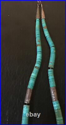 Navajo Native American Turquoise Heishi Stamped Sterling Silver Bead Necklace