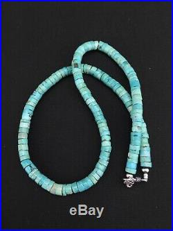 Navajo Native Blue Turquoise 7mm 20 Heishi Sterling Silver Bead Necklace 4634