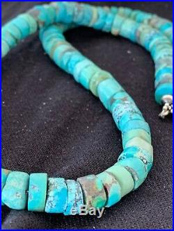 Navajo Native Blue Turquoise 9mm Heishi Sterling Silver Bead Necklace Rare 4635