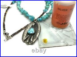 Navajo Native Sterling Silver Turquoise Stone Pendant 20 Heishi Necklace