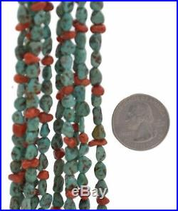 Navajo Old Pawn Handcrafted Five Strand Turquoise Coral and Heishi 32' Necklace