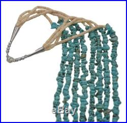 Navajo Old Pawn Handmade Traditional Four Strand Turquoise Heishi 28' Necklace