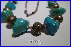Navajo Pearls Sleeping Beauty Turquoise Heishi Necklace Nugget Sterling Silver