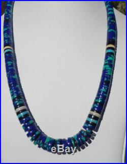 Navajo Pueblo Silver 22 Azurite Turquoise Heishi Disc Necklace 12.5mm to 5mm