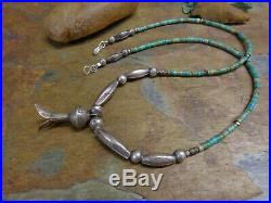 Navajo Sterling Bench Bead Squash Blossom Pendant On Turquoise Heishi Necklace