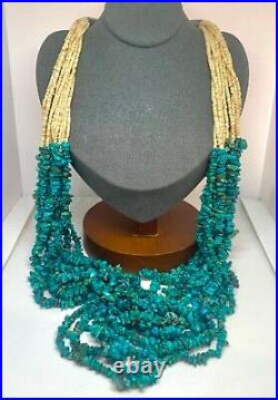 Navajo Sterling Genuine Blue Green Turquoise Multi Strand Heishi Beaded Necklace