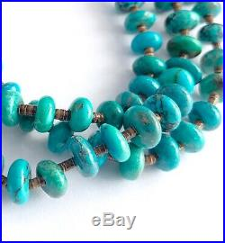Navajo Sterling Multi Strand Natural Turquoise Heishi Beaded Waterfall Necklace