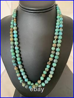 Navajo Sterling Silver Heishi Blue Green Turquoise Bead Necklace Pendant02023