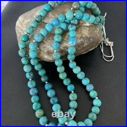 Navajo Sterling Silver Heishi Blue Green Turquoise Bead Necklace Pendant02027