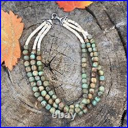 Navajo Sterling Silver Royston Turquoise Bead Heishi Necklace