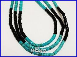 Navajo Sterling Silver Running Bear RB Turquoise & Onyx Heishi Bead Necklace