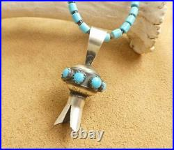 Navajo Sterling Silver Squash Blossom Sleeping Beauty Turquoise Heishi Necklace