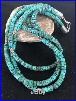 Navajo Sterling Silver Turquoise Heishi Bead 3S Necklace 20 Gift
