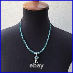 Navajo Sterling Silver Turquoise & Heishi Stone Bead Blossom Necklace