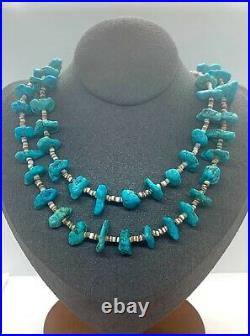 Navajo Sterling Silver Turquoise Nugget Heishi Bead Beaded Necklace 32