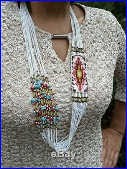 Navajo Story Teller Necklace Heishi Beads Hand Made Rug Native American Jewelry