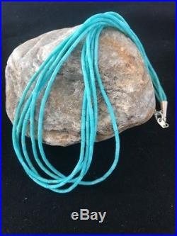 Navajo Turquoise 5 Strand Sterling Silver Tube Heishi Bead Necklace 19