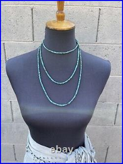 Navajo Turquoise Heishi Beaded 60 Inch Necklace