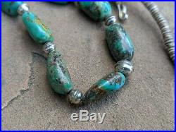 Navajo Turquoise Necklace Heishi Beads Hand Made Native American Jewelry