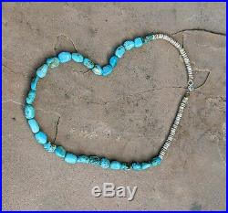 Navajo Turquoise Necklace w Heishi Beads Vintage Native American Jewelry